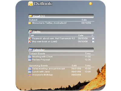 Outlook Gadget Preview